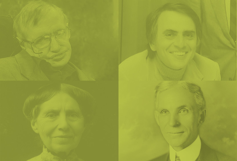 Photographs of Stephen Hawking, Carl Sagan, Clara Barton, and Henery Ford.